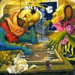 MarionettenSpiel, Öl auf Karton, 2009