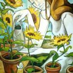 Mädchen mit Sonnenblumen, Öl auf Leinwand, 2010