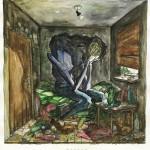 Bild Nr. 5 aus der Marionettenserie, Aquarell