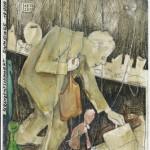 """""""Schanzenflohmarkt"""" - Bild Nr. 6 aus der Marionettenserie - Pastell /Aquarell /Scriptol /Buntstift , 2013 - Preis auf Anfrage"""