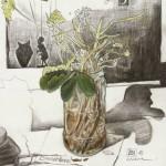 """""""Rosengeranien Bourbon für H. Janssen"""" - Buntstift, 2010 - Preis auf Anfrage"""