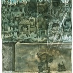 """Kargar """"Räuber der Eulenstadt"""" - Bild Nr. 9 aus der Marionettenserie - Aquarell auf Papier / Collage"""