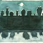 """Kargar """"Eulenreihe am Abend"""" - Aquarell auf Papier / Collage, 2013"""