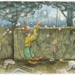 """Kargar """"Abrakadabra"""" - Bild Nr. 10 aus der Marionettenserie - Aquarell / Buntstift , 2014 - Preis auf Anfrage"""