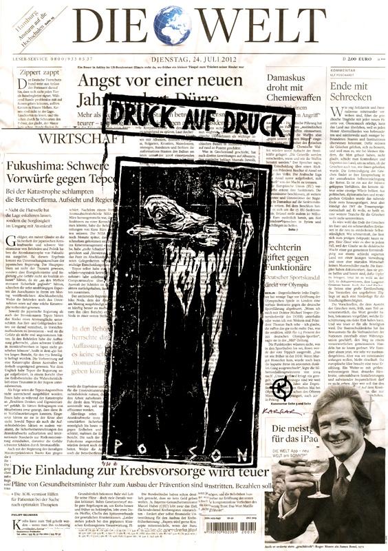 Serie: DRUCK AUF DRUCK Titel: 'Poison' Technik: Linolschnitt / Druck auf Zeitungspapier Entstehungsjahr: 2012