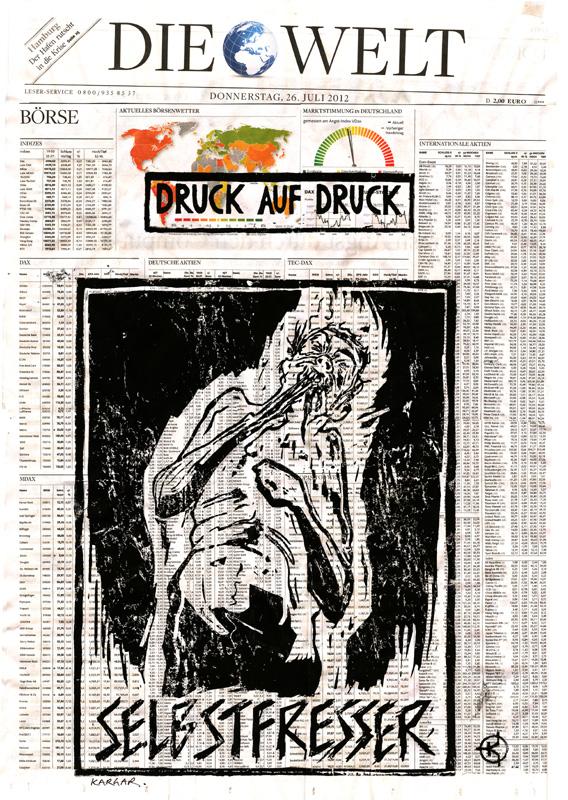 Serie: DRUCK AUF DRUCK Titel: 'Selbstfresser' Technik: Linolschnitt / Druck auf Zeitungspapier Entstehungsjahr: 2012