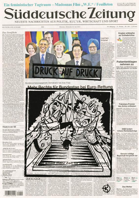 Serie: DRUCK AUF DRUCK Titel: 'Gaukler' Technik: Linolschnitt / Druck auf Zeitungspapier Entstehungsjahr: 2012