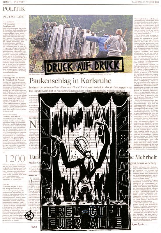 Serie: DRUCK AUF DRUCK Titel: 'Frei-Gift für alle' Technik: Linolschnitt / Druck auf Zeitungspapier Entstehungsjahr: 2012