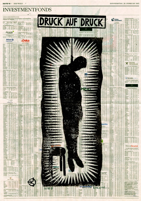 Serie: DRUCK AUF DRUCK Titel: 'Strick' Technik: Linolschnitt / Druck auf Zeitungspapier Entstehungsjahr: 2013