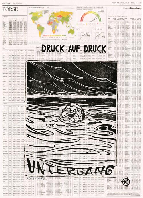 Serie: DRUCK AUF DRUCK Titel: 'Untergang' Technik: Linolschnitt / Druck auf Zeitungspapier Entstehungsjahr: 2013