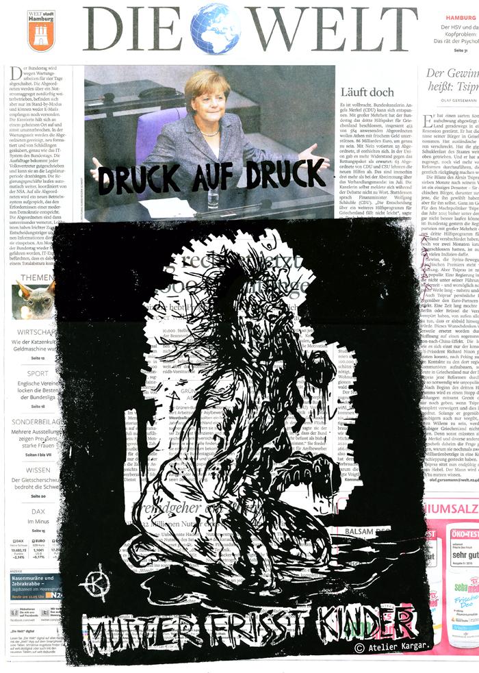 Serie: DRUCK AUF DRUCK Titel: 'Mutter frisst Kinder' Technik: Linolschnitt / Druck auf Zeitungspapier Entstehungsjahr: 2015